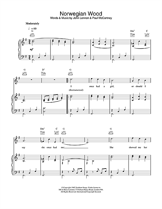 Download The Beatles 'Norwegian Wood (This Bird Has Flown)' Digital Sheet Music Notes & Chords and start playing in minutes
