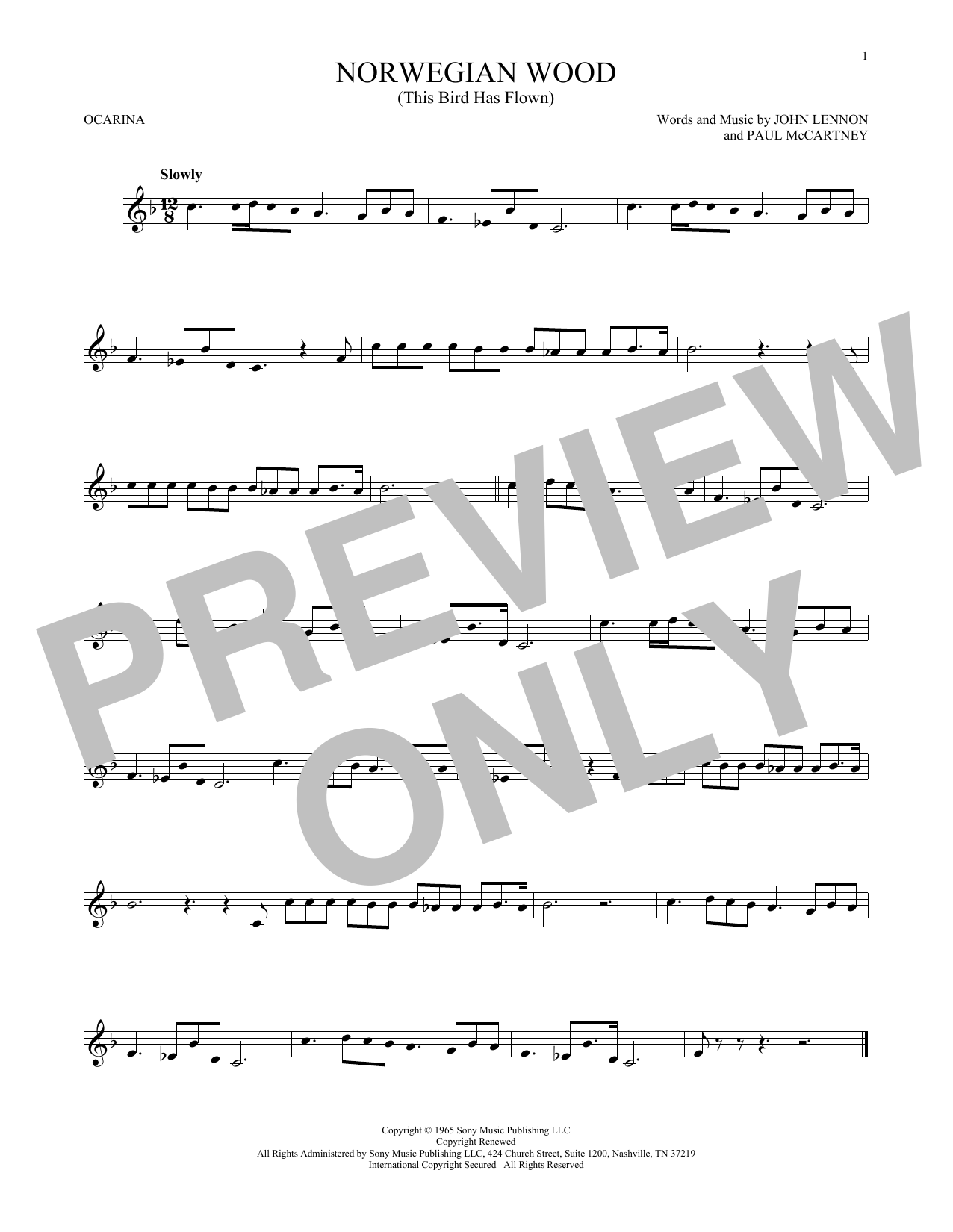 The Beatles Norwegian Wood (This Bird Has Flown) sheet music preview music notes and score for Bass Guitar Tab including 3 page(s)