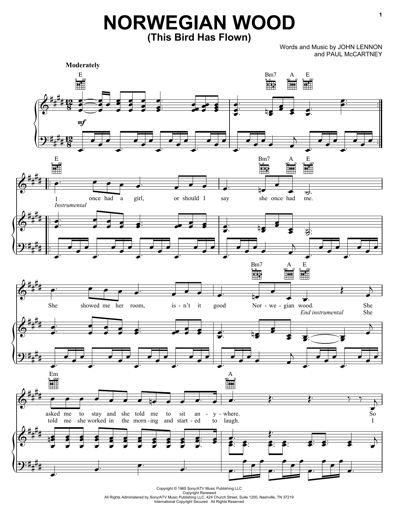 The Beatles Norwegian Wood (This Bird Has Flown) sheet music preview music notes and score for Guitar Tab including 4 page(s)