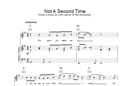 The Beatles Not A Second Time sheet music preview music notes and score for Guitar Tab including 5 page(s)