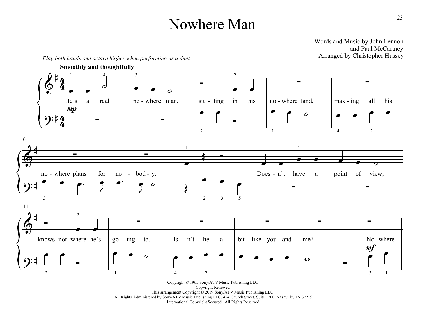 The Beatles Nowhere Man (arr. Christopher Hussey) sheet music preview music notes and score for Piano Duet including 4 page(s)