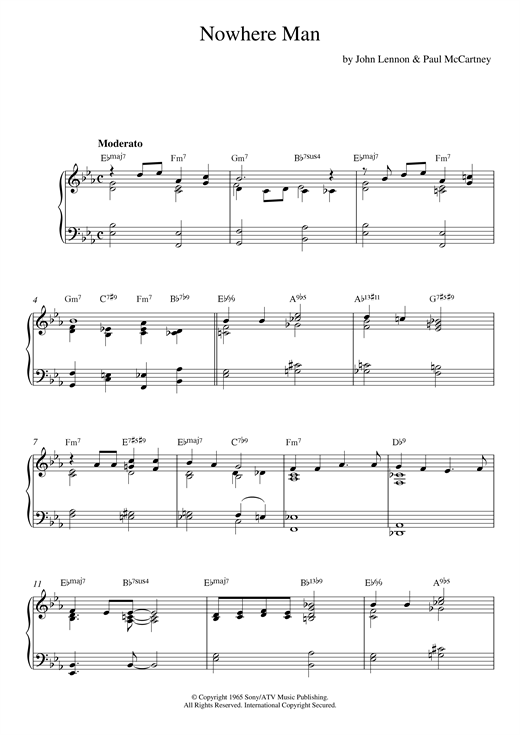 Download The Beatles 'Nowhere Man (jazz version)' Digital Sheet Music Notes & Chords and start playing in minutes