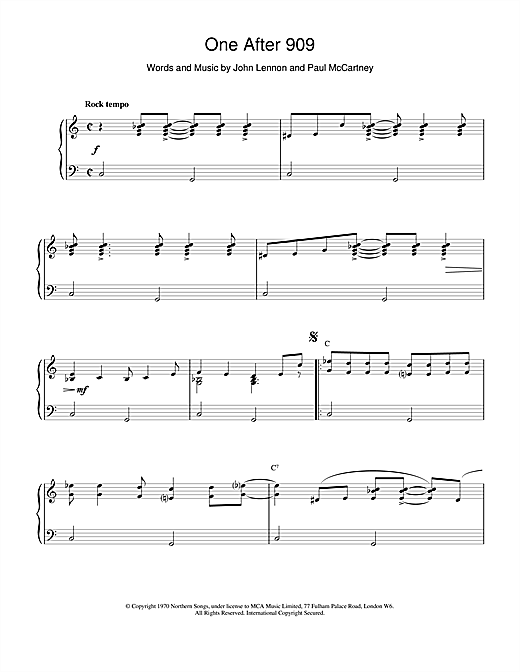 The Beatles One After 909 sheet music notes and chords