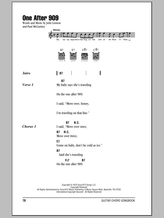 The Beatles One After 909 sheet music preview music notes and score for Piano, Vocal & Guitar including 6 page(s)