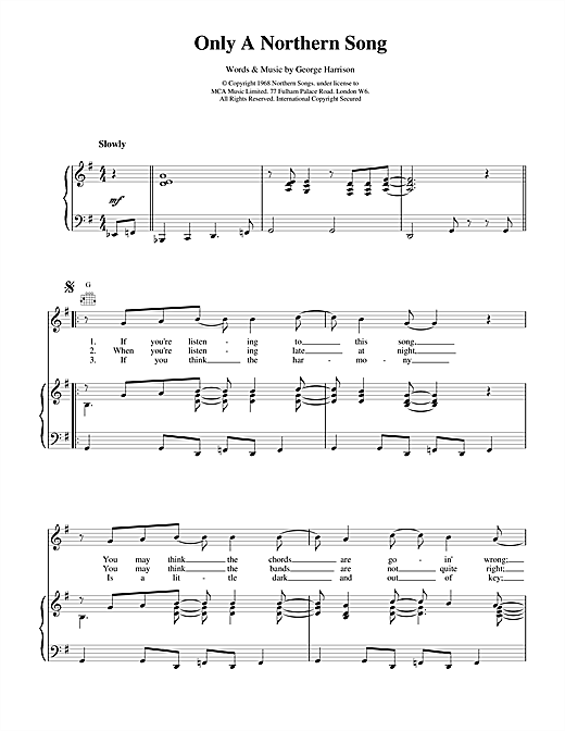 The Beatles Only A Northern Song sheet music notes and chords