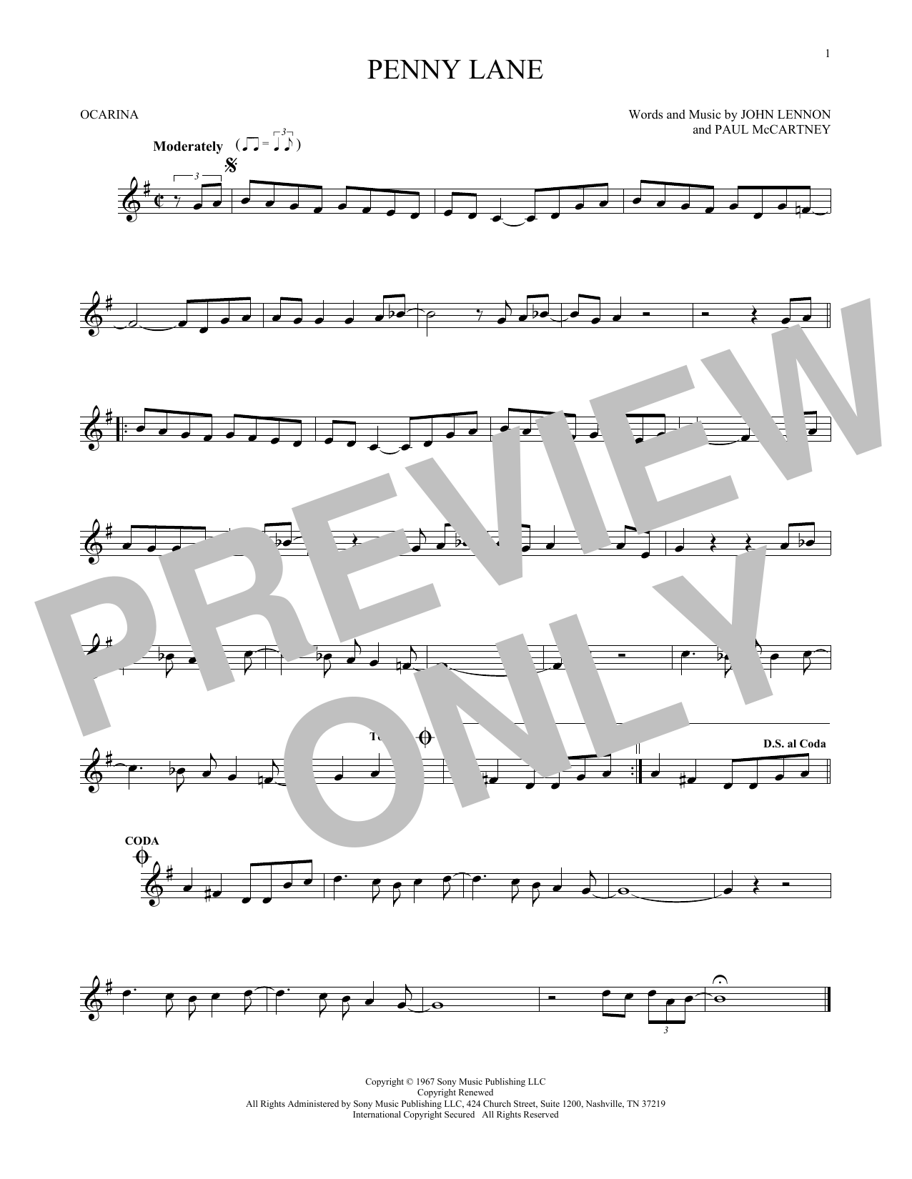 The Beatles Penny Lane sheet music preview music notes and score for Bass Guitar Tab including 5 page(s)