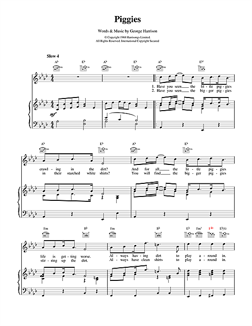 The Beatles Piggies sheet music notes and chords