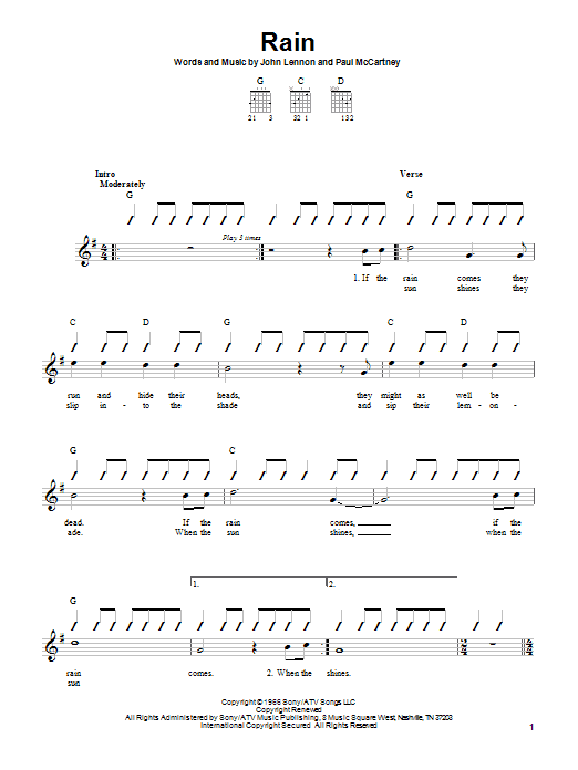 The Beatles Rain sheet music notes and chords