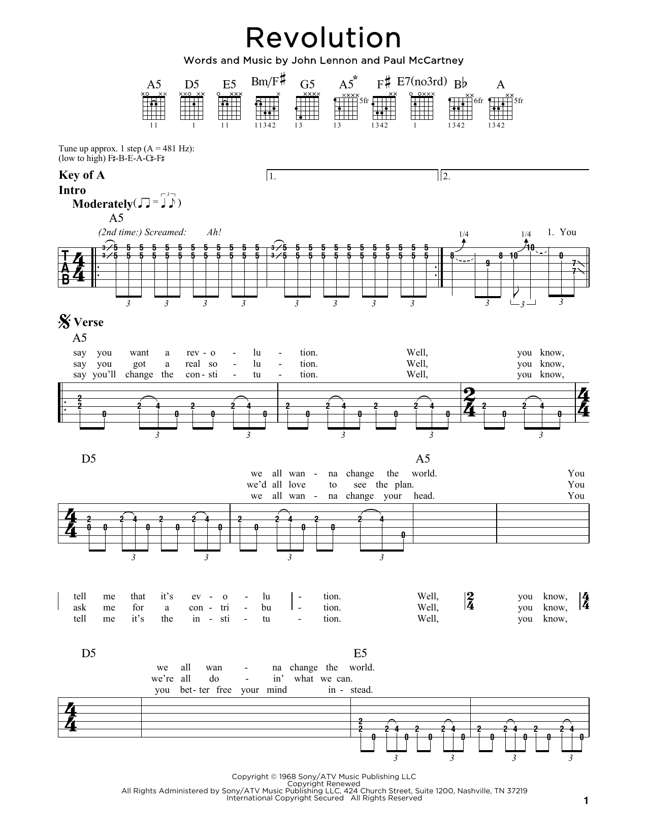 The Beatles Revolution sheet music notes and chords