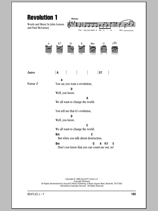 The Beatles Revolution 1 sheet music notes and chords
