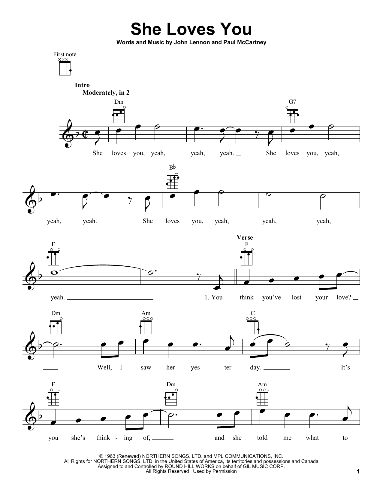 The Beatles She Loves You sheet music notes and chords