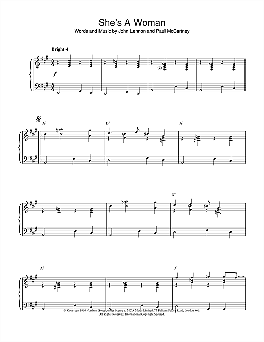 Download The Beatles 'She's A Woman' Digital Sheet Music Notes & Chords and start playing in minutes