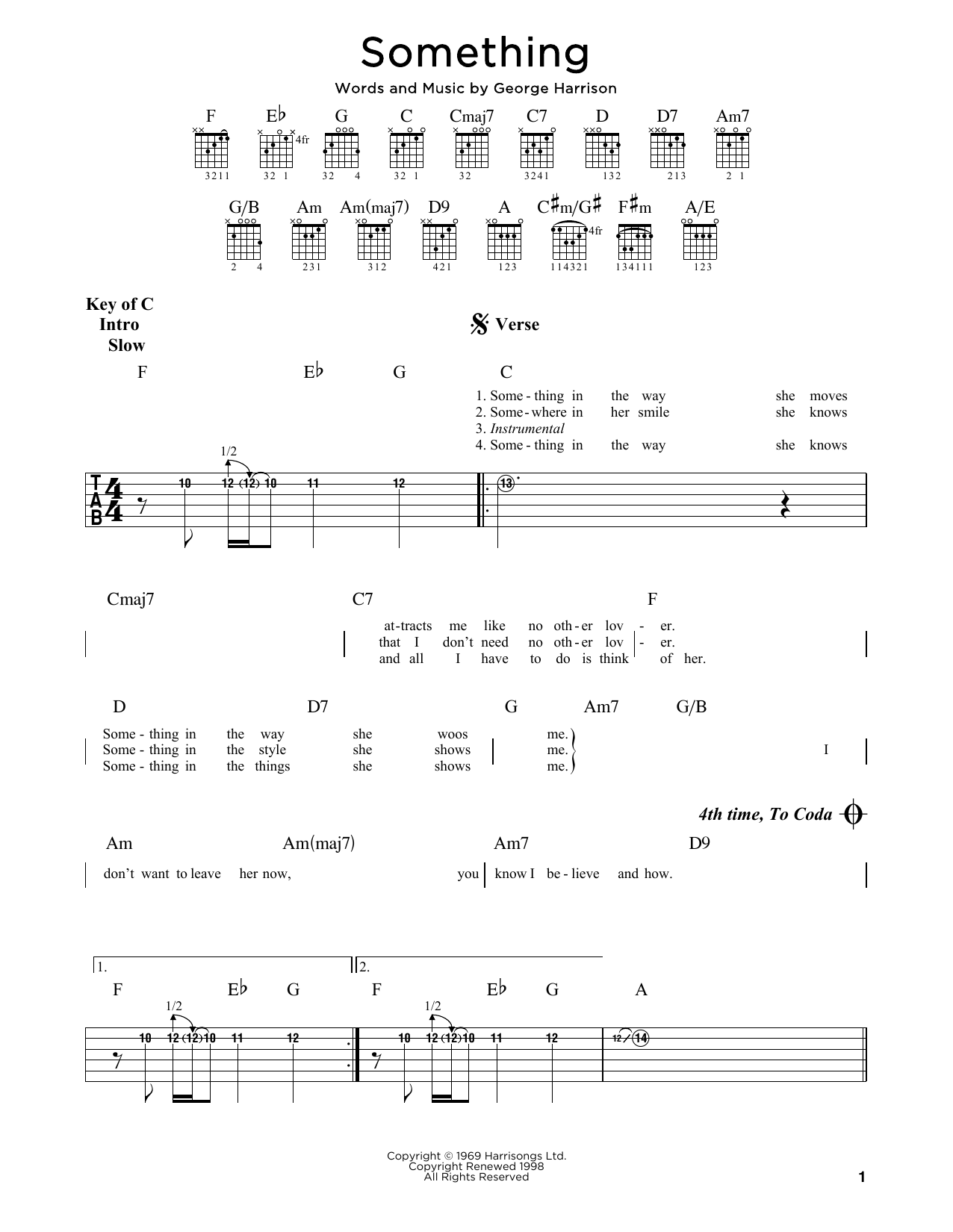 The Beatles Something sheet music notes and chords