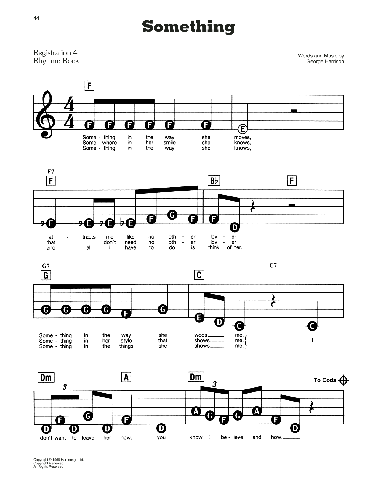 The Beatles Something sheet music preview music notes and score for Piano (Big Notes) including 3 page(s)