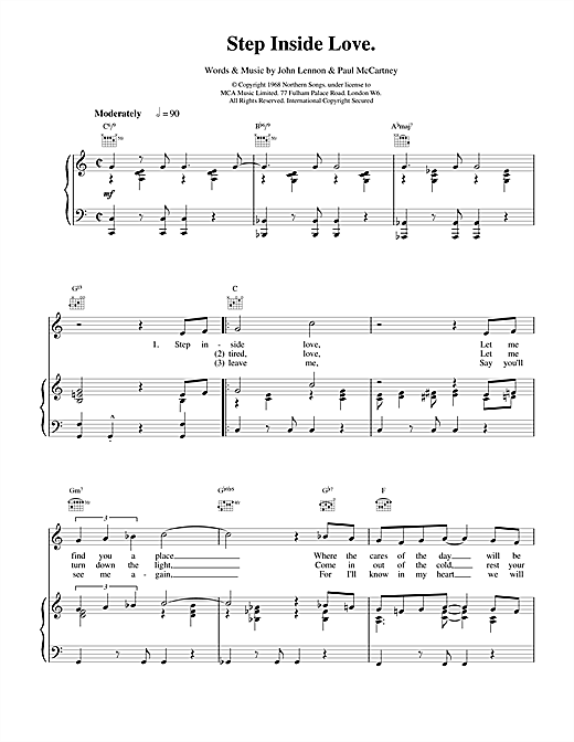 The Beatles Step Inside Love sheet music notes and chords