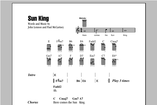 The Beatles Sun King sheet music notes and chords