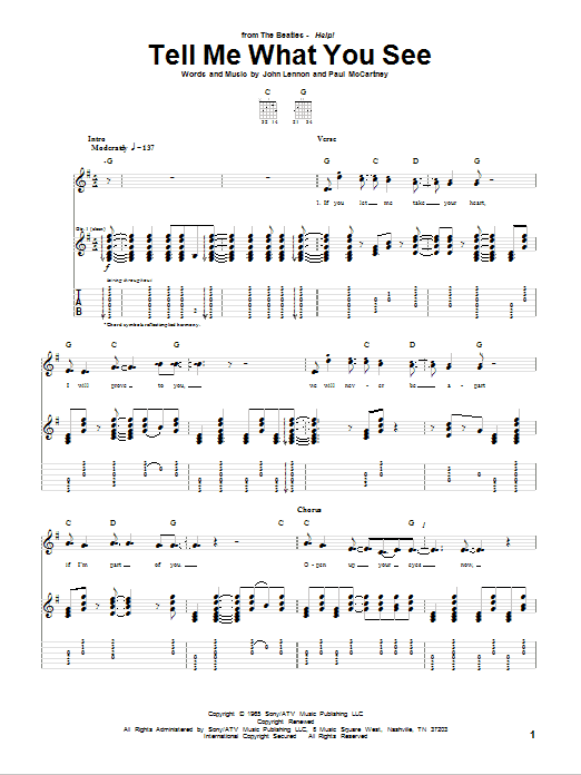 The Beatles Tell Me What You See sheet music notes and chords