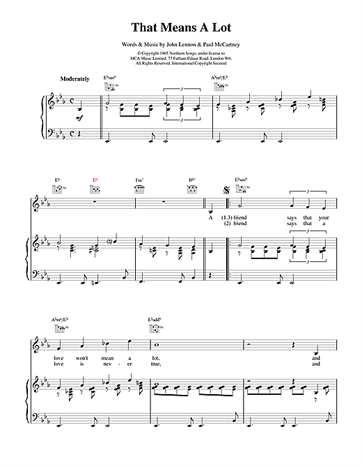The Beatles That Means A Lot sheet music notes and chords