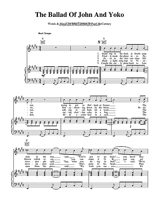 The Beatles The Ballad Of John And Yoko sheet music notes and chords