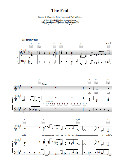 The Beatles The End sheet music preview music notes and score for Melody Line, Lyrics & Chords including 2 page(s)