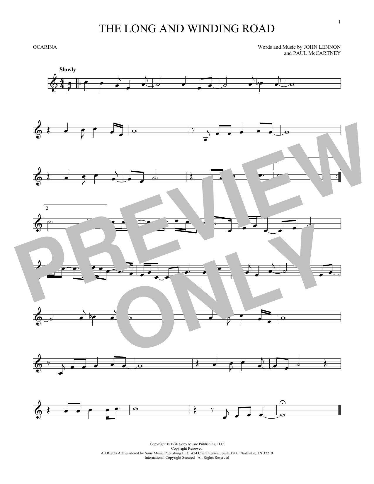 The Beatles The Long And Winding Road sheet music preview music notes and score for Guitar Tab including 3 page(s)