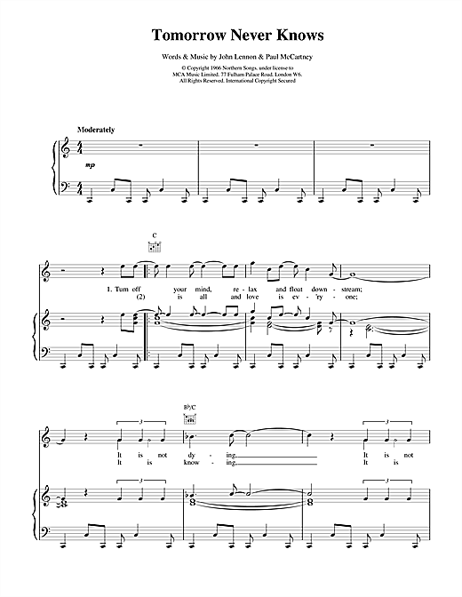 The Beatles Tomorrow Never Knows sheet music notes and chords