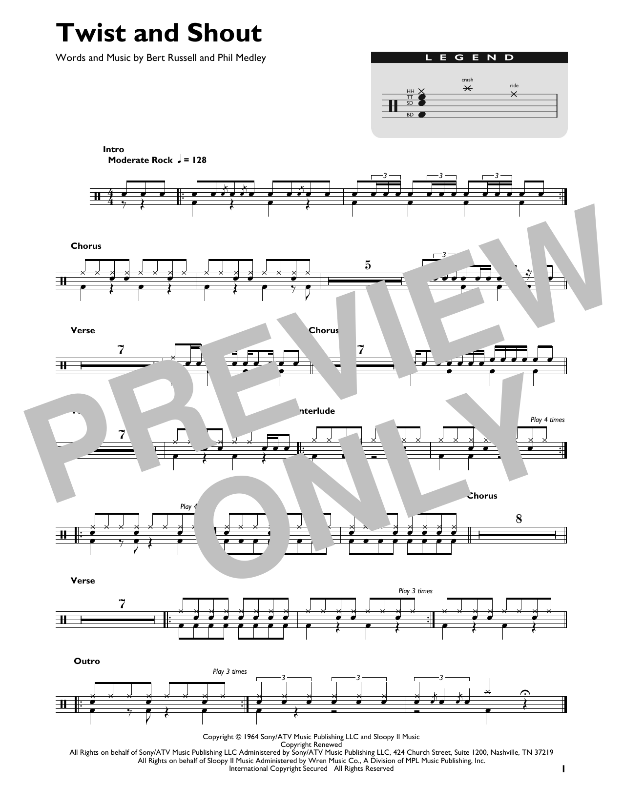 The Beatles Twist And Shout sheet music preview music notes and score for Drums Transcription including 1 page(s)