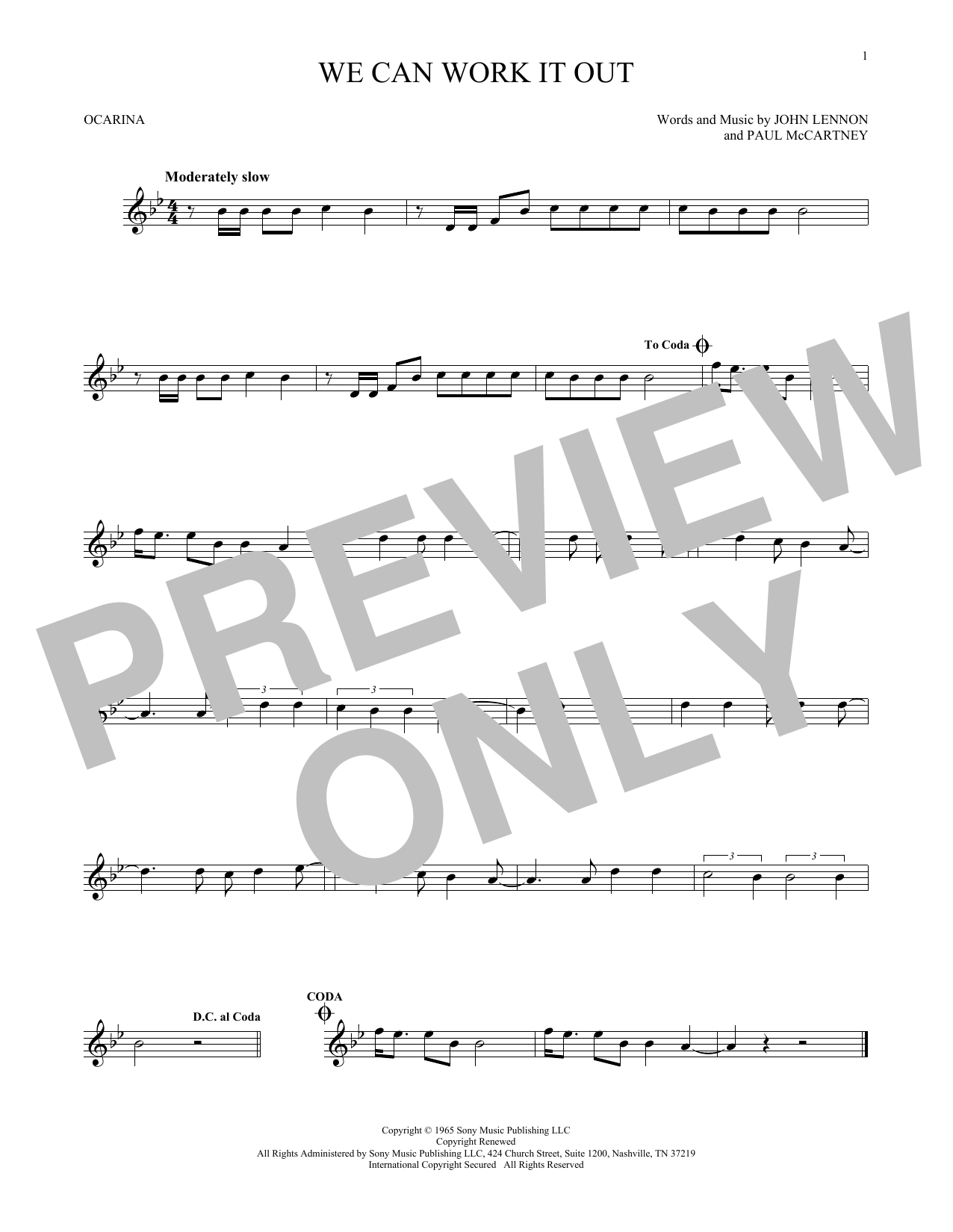 The Beatles We Can Work It Out sheet music preview music notes and score for Bass Guitar Tab including 3 page(s)