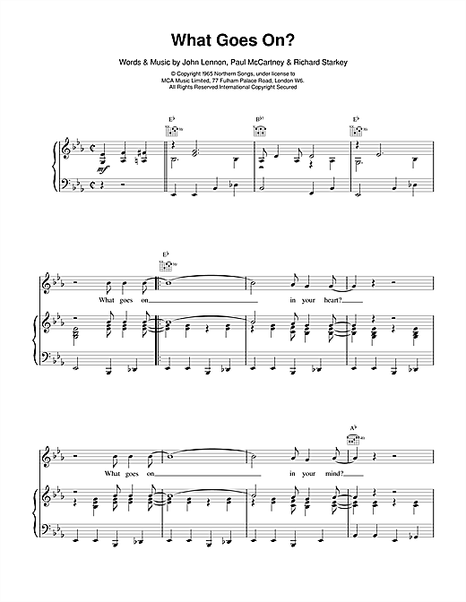 The Beatles What Goes On? sheet music notes and chords