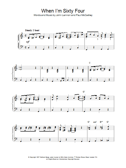 The Beatles When I'm Sixty-Four sheet music preview music notes and score for Melody Line, Lyrics & Chords including 3 page(s)