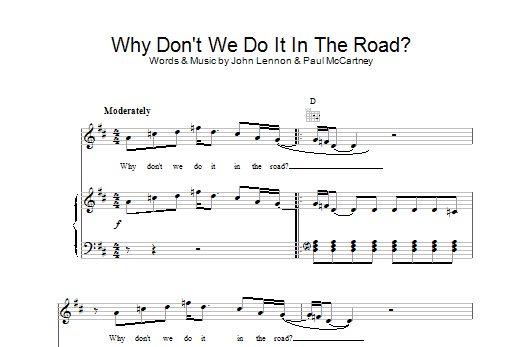 The Beatles Why Don't We Do It In The Road sheet music preview music notes and score for Piano, Vocal & Guitar (Right-Hand Melody) including 2 page(s)
