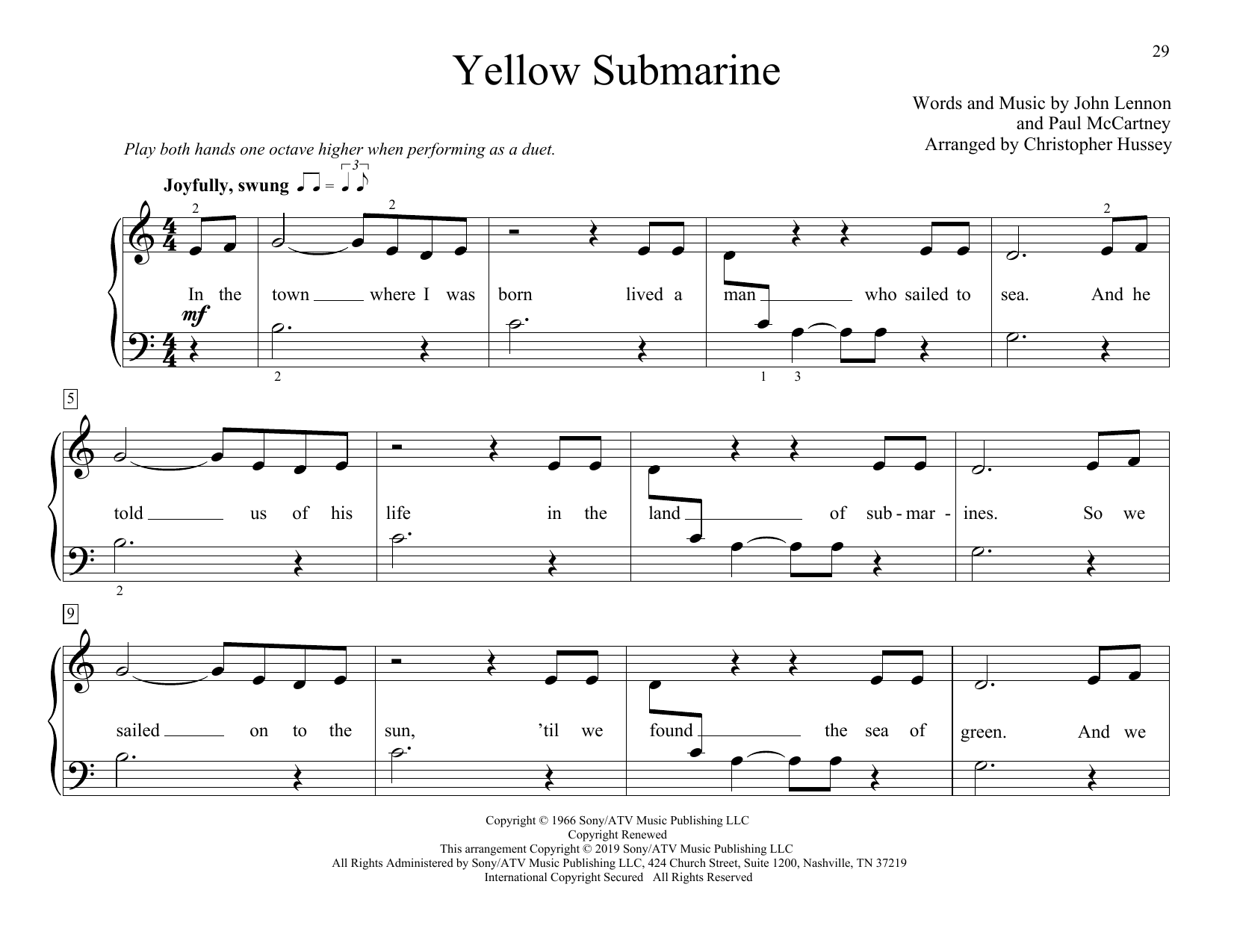 The Beatles Yellow Submarine (arr. Christopher Hussey) sheet music preview music notes and score for Piano Duet including 4 page(s)