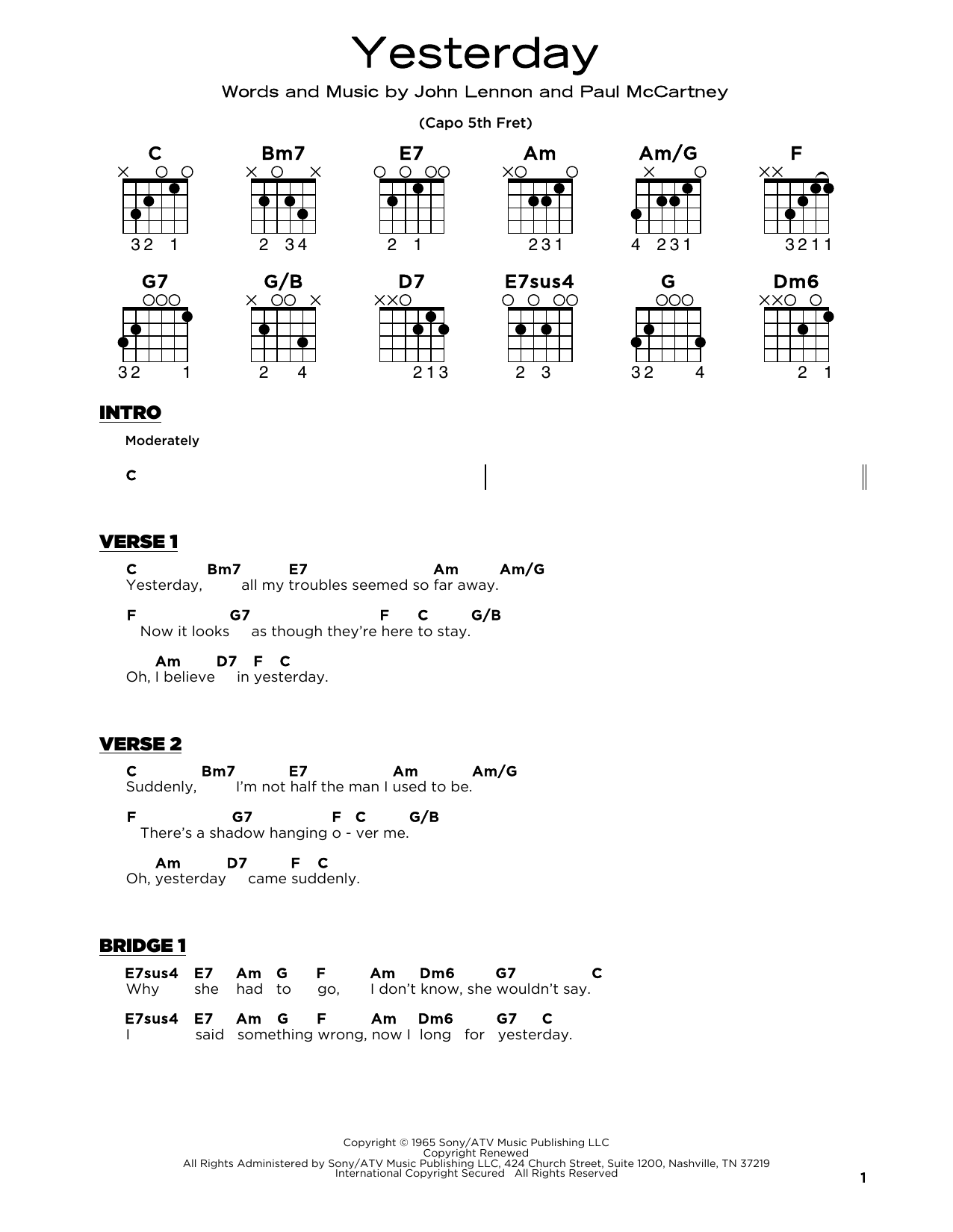 The Beatles Yesterday sheet music notes and chords