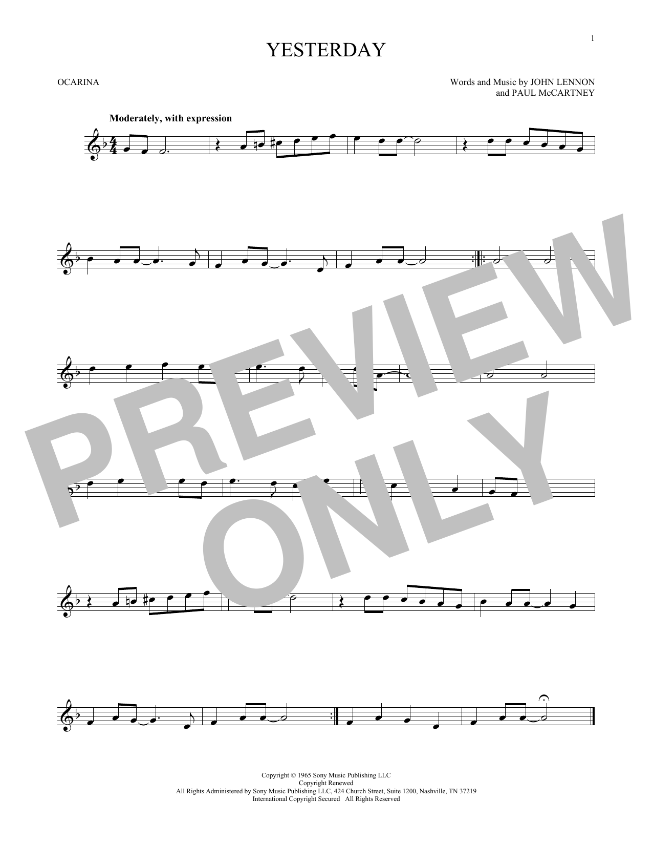 The Beatles Yesterday sheet music preview music notes and score for Lyrics & Piano Chords including 2 page(s)
