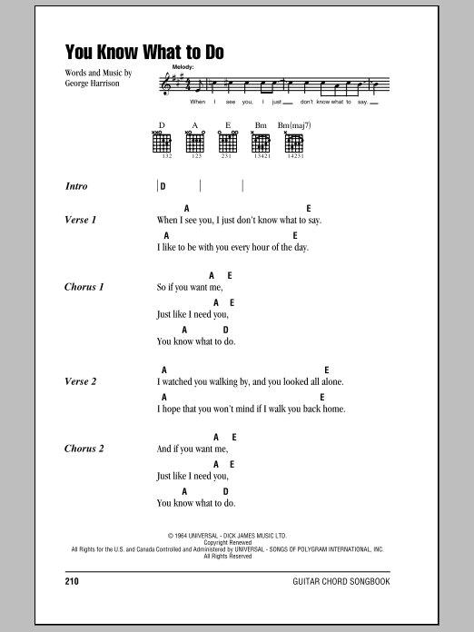 The Beatles You Know What To Do sheet music notes and chords