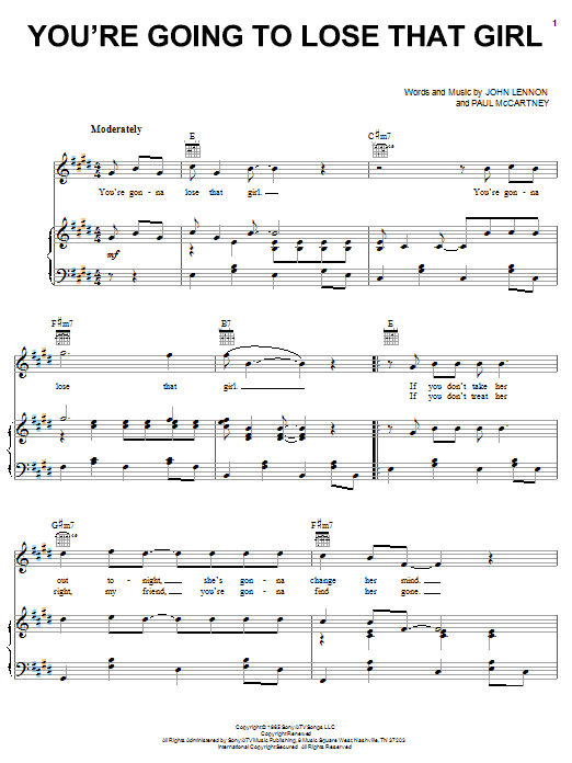 The Beatles You're Going To Lose That Girl sheet music notes and chords