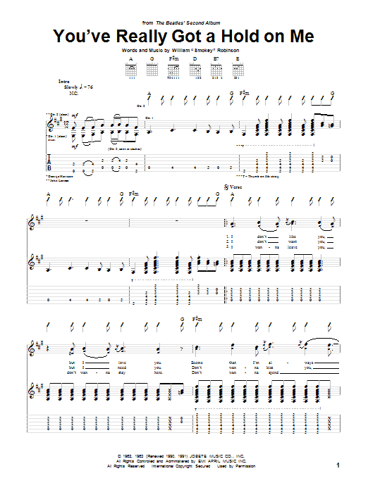 The Beatles You've Really Got A Hold On Me sheet music preview music notes and score for Guitar Tab including 4 page(s)