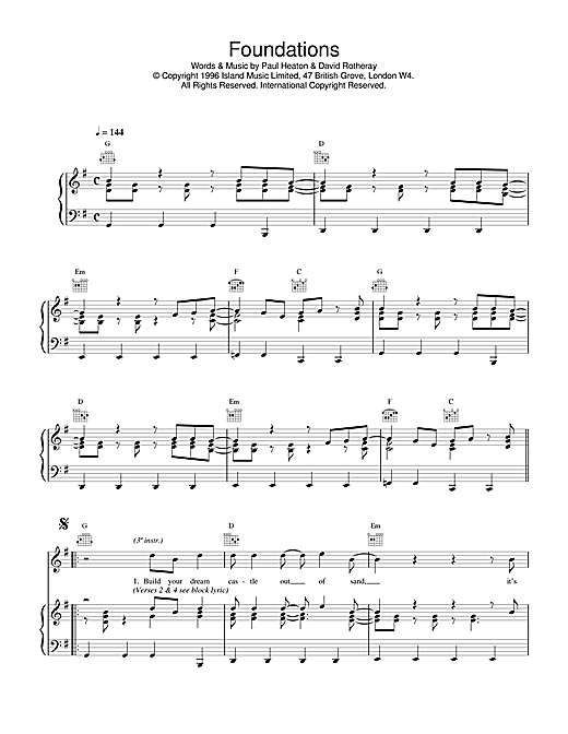 The Beautiful South Foundations sheet music notes and chords