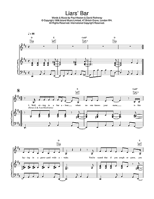The Beautiful South Liar's Bar sheet music notes and chords