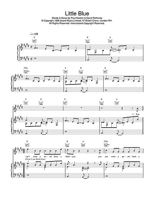 The Beautiful South Little Blue sheet music notes and chords
