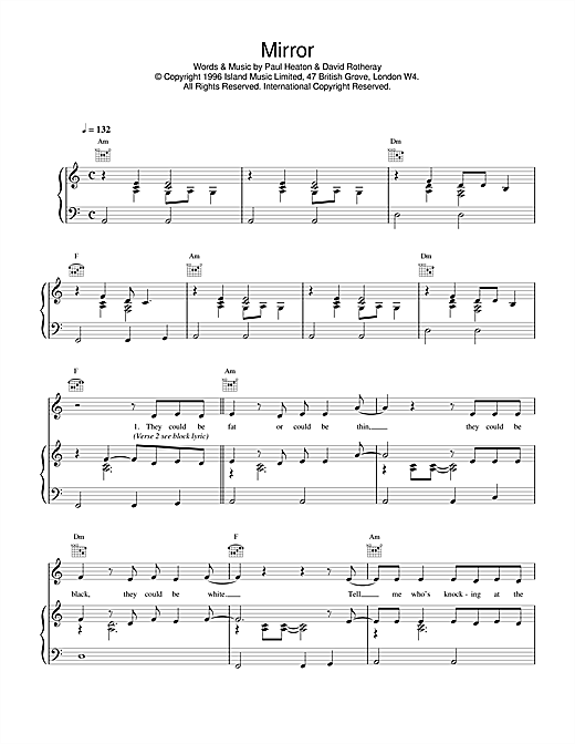 The Beautiful South Mirror sheet music notes and chords