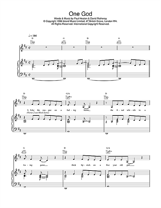 The Beautiful South One God sheet music notes and chords