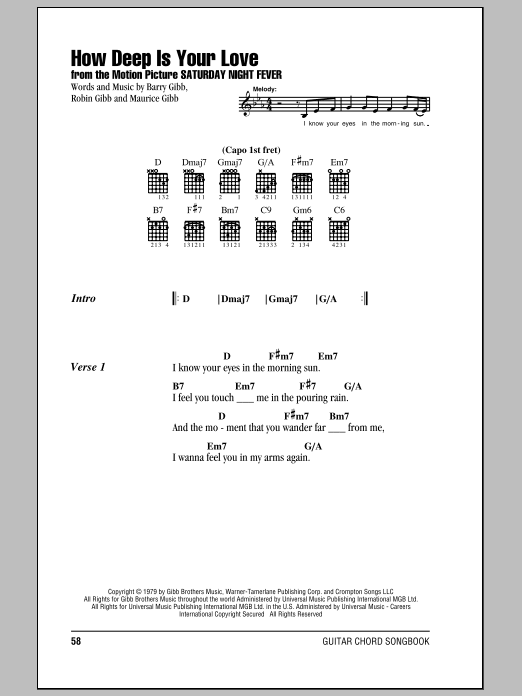 Download The Bee Gees 'How Deep Is Your Love' Digital Sheet Music Notes & Chords and start playing in minutes