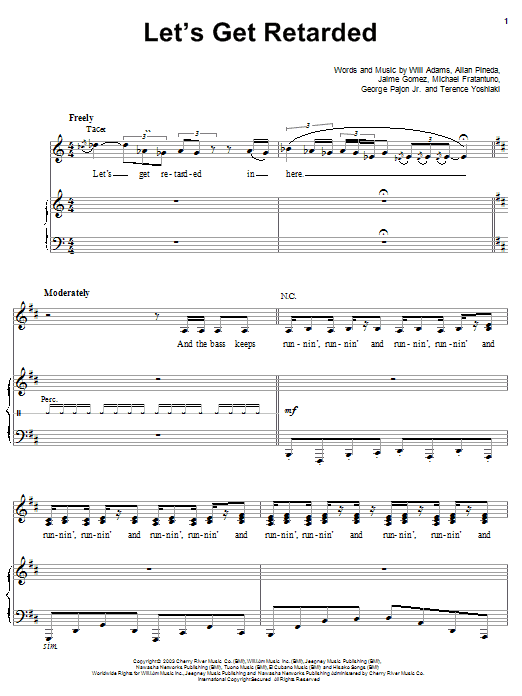 The Black Eyed Peas Let's Get Retarded sheet music preview music notes and score for Piano, Vocal & Guitar (Right-Hand Melody) including 9 page(s)