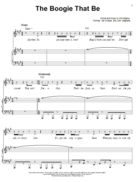 The Black Eyed Peas The Boogie That Be sheet music preview music notes and score for Piano, Vocal & Guitar (Right-Hand Melody) including 11 page(s)