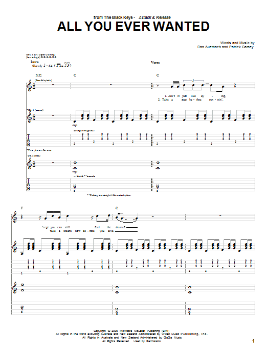 The Black Keys All You Ever Wanted sheet music preview music notes and score for Guitar Tab including 5 page(s)