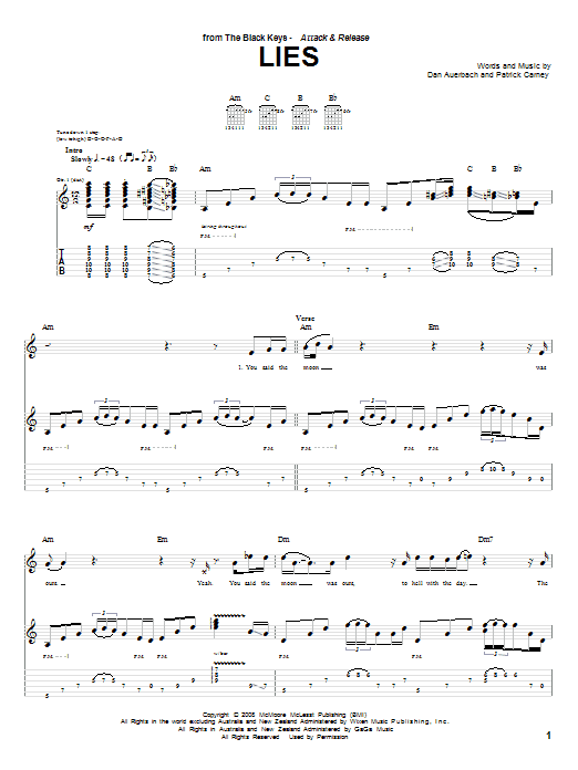 The Black Keys Lies sheet music preview music notes and score for Guitar Tab including 6 page(s)