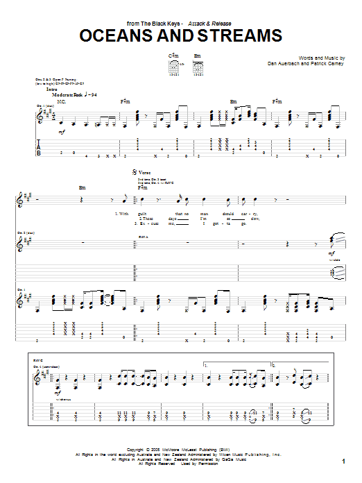 The Black Keys Oceans And Streams sheet music preview music notes and score for Guitar Tab including 5 page(s)