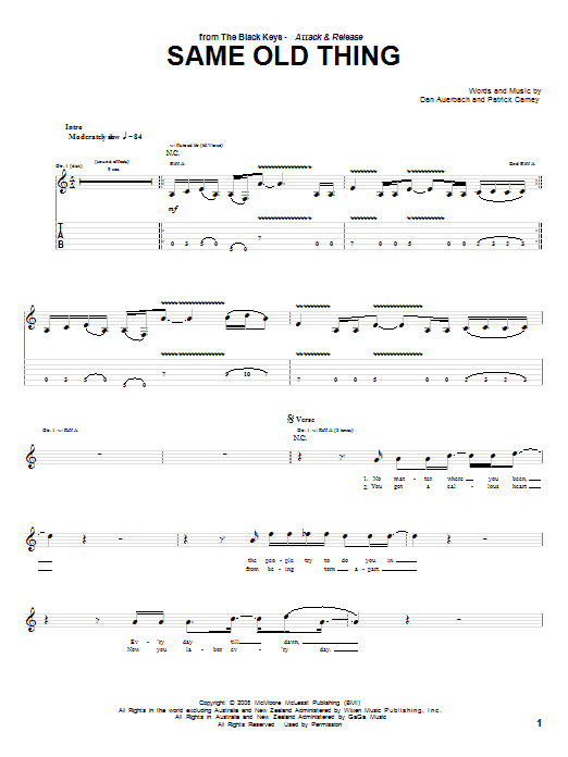 The Black Keys Same Old Thing sheet music preview music notes and score for Guitar Tab including 4 page(s)