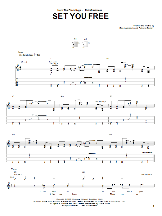 The Black Keys Set You Free sheet music notes and chords